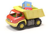 Toy truck and cubes — Stock Photo
