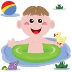 Swimmer funny boy — Stock Photo