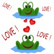 Two frogs, Valentine day card. — Vector de stock #11250288