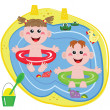 Stock Vector: Swimmer funny boy and girl