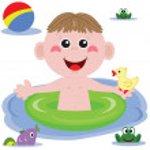 Swimmer funny boy — Stock Vector