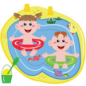 Swimmer funny boy and girl — Stock Vector