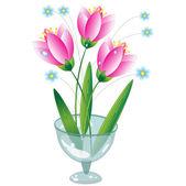 Pink flowers, vector. — Stock Vector