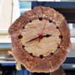 Royalty-Free Stock Photo: Handmade wooden clock decorated with amber stones