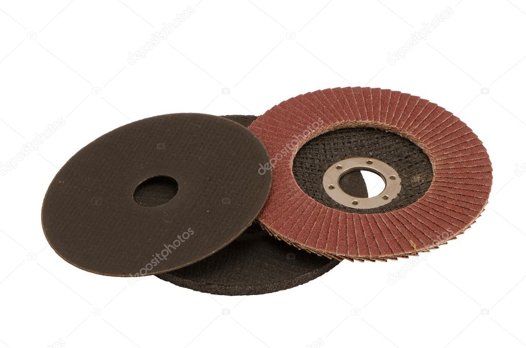 Special angle grinder sander discs for grinding and cutting isolated on a white background. Construction industry tools. — Stock Photo #11194079