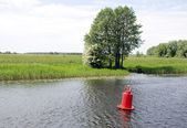 Red buoy beacon in lake shore water mark for ships — Stock Photo