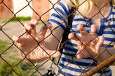 Woman hands claw rusty fence. Human freedom stop — Stock Photo