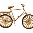Stock Photo: Small gold color toy bicycle isolated on white