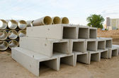 Concrete molds and plastic sewage pipes — Stock Photo