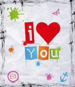 Corazón con texto te amo — Vector de stock