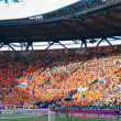 Netherlands fans on stadium before beginning of match — Stock Photo