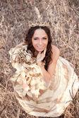 Princess in gold dress — Stock Photo