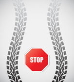 Special tire track with stop sign — Stock Vector