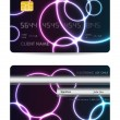 Realistic vector credit card, front and back view — Stock Vector