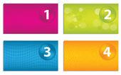 Uppsättning färgglada visitkort med sifferknapparna — Stockvektor