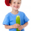 Smiling boy with cucumber — Stock Photo #10985761