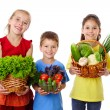 Smiling kids with fresh vegetables — Stock Photo #10985775