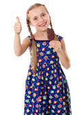 Girl with ice cream and thumb up sign — Stock Photo
