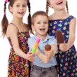 Stock Photo: Three kids with ice cream