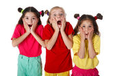 Three surprised little girls — Stock Photo