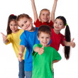 Group of children with hands and thumbs up — Stockfoto