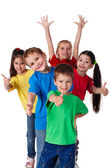 Group of children with hands and thumbs up — Stock Photo