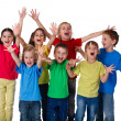 Group of children with hands up sign — Foto de Stock