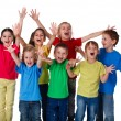 Group of children with hands up sign — Stockfoto