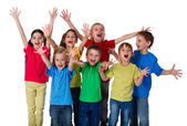 Group of children with hands up sign — Stock Photo