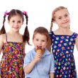 Three kids with ice cream — Stock Photo