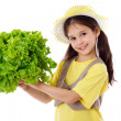 Smiling girl with lettuce salad — Stock Photo #11563723