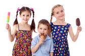 Three kids with ice cream — Stock Photo