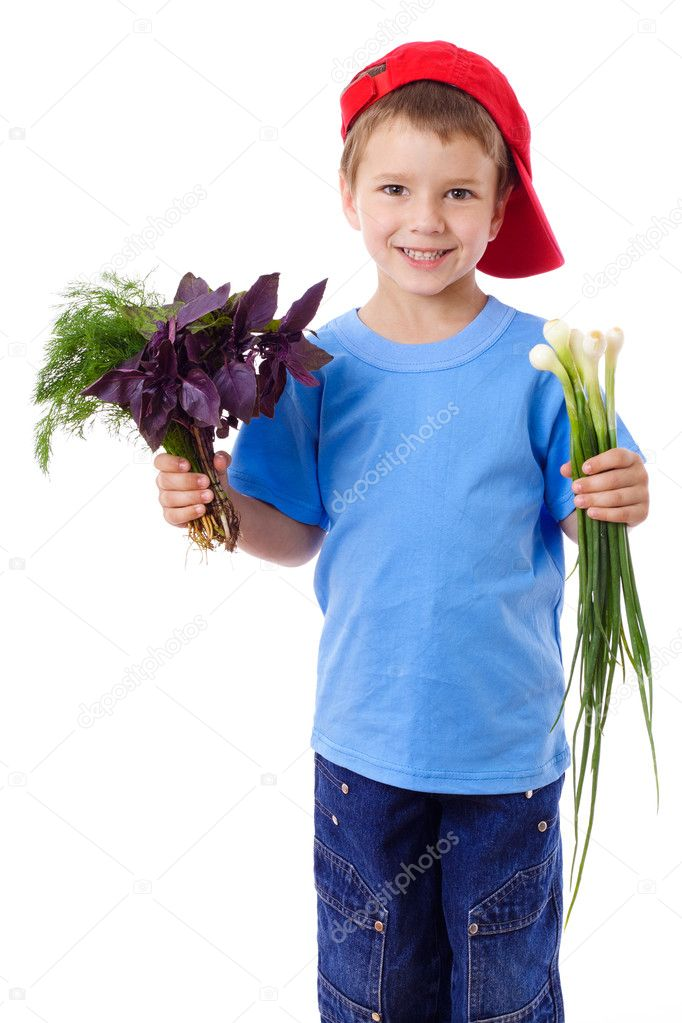 Smiling boy in red hat with greens - onion, basil and dill in hands, isolated on white — Stock Photo #11563726