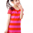 Thoughtful girl in pink dress — Stock Photo #11599751