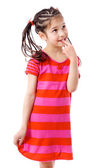 Thoughtful girl in pink dress — Stock Photo