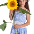 Smiling girl with sunflower — Stock Photo #11727218