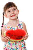 Little girl eating a watermelon — Stock Photo