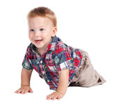 Smiling baby crawling on the floor — Stock Photo