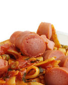 Sausages with noodles — ストック写真