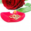 Ring with rose — Stock Photo