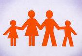 描かれた家族のオレンジ、白い背景で隔離. — ストック写真