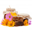 Flower honey with the honeycombs — Stock Photo