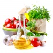 Olive oil, vegetables and herbs — Stock Photo