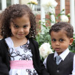 Young multiracial boy and girl portrait — Stock Photo