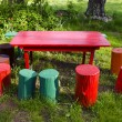 Stock Photo: Colorful rural garden furniture