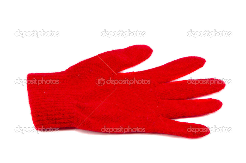 Isolated on white one red glove — Stock Photo #10916172