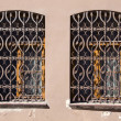 Two old windows with metal gratings — Stock Photo