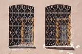 Zwei alte fenster mit metall-gitter — Stockfoto