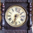 Stock Photo: Antique and broken wooden clock dial