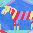 Retro cloth with painted zebra background — Stock Photo